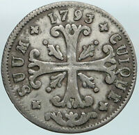 1793 SWITZERLAND Swiss Canton of NEUCHATEL Antique 1/2 Batzen Silver Coin i87523