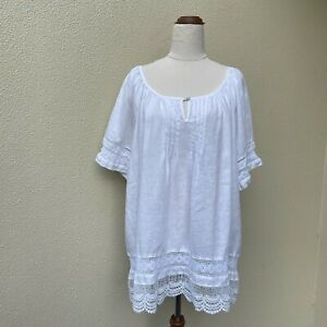 Hammock & Vine Size 18 100% Linen White Broderie Anglaise Lace Smock Top Boho