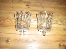 2 Home Interiors, Clear, Tulip, Fluted, Starlite Votive Cups ~ Candle Holders