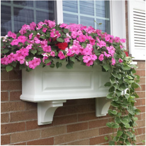3 ft. Nantucket White Plastic Window Box | Planter Mayne Weather Flower Outdoor