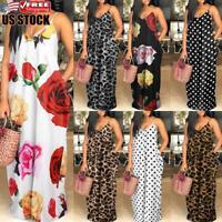 US Plus Size Womens Summer Boho Long Dress Ladies Beach Print Loose Maxi Dresses