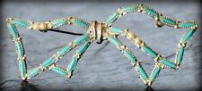 Vtg 1970 Florenta Faux Turquoise Pearl Petit Point Pearl Bow Silver Tone Brooch