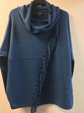 Marble Sweater With Diagonal Fringe Petrol Blue Large TD083 AE 06