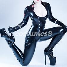Latex Rubber Policewoman Uniform Black Bodysuit Catsuit All-body Suit  S-XXL