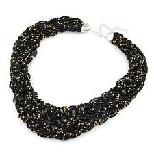 Ladies Chunky Black and Gold Beaded Necklace
