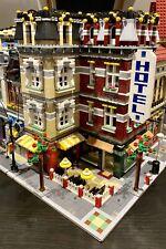 LEGO CUSTOM MODULAR LARGE CORNER BUILDING HOTEL CAFE fits with 10185 MOC 551 np