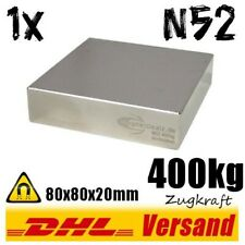 Neodym Magnet 80x80x20mm 8x8x2cm 400kg N52 starker super Dauermagnet Blockmagnet