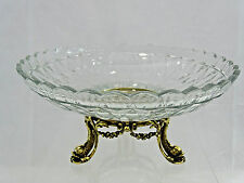 SUPERB ANTIQUE SILVER /CRYSTAL CENTER PIECE FRUIT BOWL DALPHIN NAUTICAL sterling