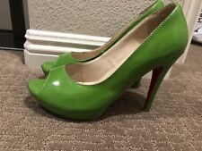 Hot Green Peep Pumps High Heels Shoes Size 41 US size 10 Made In China