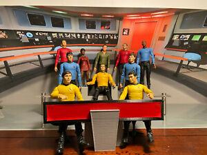 Diamond Select STAR TREK TOS 10 Figure LOT Art Asylum w/ Electronic Chair & Helm
