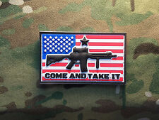 """Come and Take It Ar-15 US Flag 2x3"""" PVC Tactical Hook Military Morale Patch USA"""