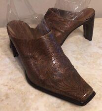Womens ANTONIO MELANI Tango Western Brown Leather High Heel Mules Size 10 EUC