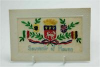 WW1 military postcard silk embroidered Souvenir De Rouen