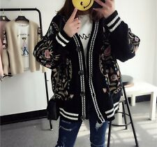 MW009066 - FASHION EMBROIDERED FLORAL KNITTED CARDIGAN (FREE SIZE)