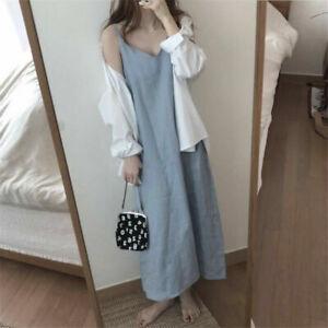 Women's Strap Sleeveless Long Dress Retro Underdress Full Slips Vest Chemise