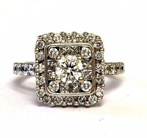 14k white gold 1.59ct SI2-I1 H round diamond halo engagement ring 5.5g estate 6