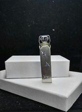 Antique WELLS Sterling Silver Sapphire Engraved Jeweled PERFUMER & Dauber BOTTLE