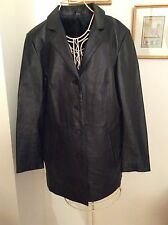 Nappa Leather Black  Coat, Size 18