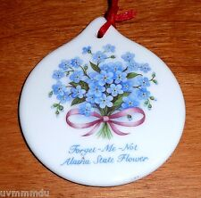 Merry Christmas from Alaska Christmas Tree Ornament Forget Me Not State Flower