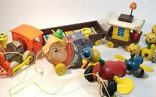 Vintage Fisher Price Toy Lot of 3 1960s, Pudgy Pig, Quacky Family & Train, Gdc