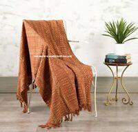 100% Cotton Rust Hand Block Print Large Sofa Bed Throw Rug Blanket 127 x 182 Cm