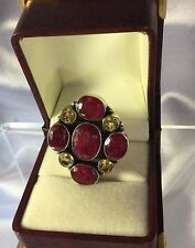 Ruby Citrine Sterling ring,Val $800+.16.1grams.Size Q.NEW Handmade