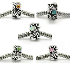 10 Mixed Silver Tone Rhinestone Flower Spacer Beads. Fits Charm Bracelet 12x8mm