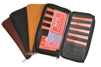 RFID Blocking Leather Checkbook Cover 17 Wallet Card Zip Around Organizer