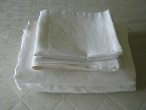 Linen Sheets Set White or Oatmeal Beige Pure Natural Organic Bedding USA Sizes