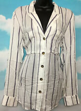 OASIS 12 BNWT Linea Cream Blue Stripe Longline Shirt Blouse Top