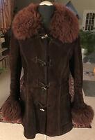 Lederjacke Damen VERA PELLE Kurzmantel in braun Gr. 42 Parka-Style Leder Velour
