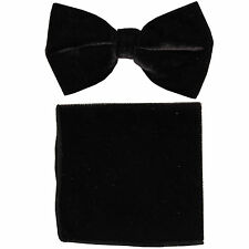 New in box formal men's pre tied Bow tie & Pocket Square Hankie Velvet Black