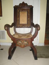 Antique Carved Gothic Revival Throne / Church Arm Chair 1850