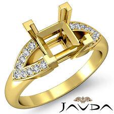 Classic Diamond Wedding Promise Ring 18k Yellow Gold Princess Semi Mount 0.25Ct