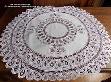 NAPPERON CENTRE DE TABLE BRODE MAIN DENTELLE RENAISSANCE SUR LIN BLANC 78 CM
