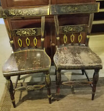 Two Antique Windsor Black Tole Painted Primitive Hitchcock Style Chairs