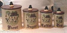 ❤4 FOUR CANISTERS FLOUR SUGAR COFFEE TEA METLOX POPPYTRAIL HOMESTEAD PROVINCIAL❤