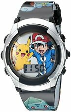 Pokemon Kids Pok3018 Digital Display Quartz Black Watch Water Resistant Pokémon