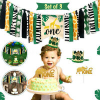 Baby Birthday Jungle Safari Canvas Banner Animals Party Decorations Supplies