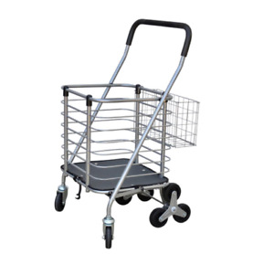 LBY Hand Cart Stroller Stainless Steel Hiking Cart Portable Folding Grocery Shopping Pull Cargo Handling Small Trailer Luggage Cart Shopping Trolley Color : Blue, Size : 8 Rounds