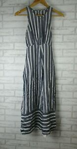 Sheike Sz 8 Jumpsuit playsuit Grey, white stripe Tie back Invisible zip