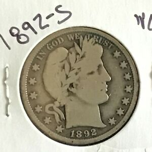 1892-S Barber Silver Half Dollar First Year of Issue Key Date    E8543