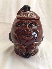 Vintage Humpty Dumpty Brown Pottery Biscuit Cookie Jar Made in England PEK VGC