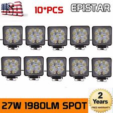 10X 27W 12V 24V LED Work Light Spot Beam Tractor Truck Car Off Road 4WD Square