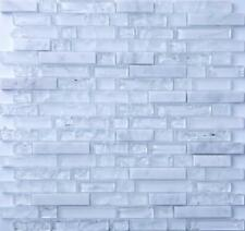 Clear & Frosted Glass & White Stone Brick Shape Mosaic Tiles Sheet (GTR10153)