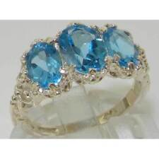 Topaz Natural Oval White Gold Fine Gemstone Rings