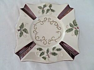 YANKEE CANDLE SQUARE PLATE FOR LARGE JAR CANDLE SPRIGS OF HOLLY W/ BURGUNDY TRIM