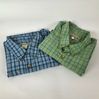 Duluth Trading (2) Men XL-Tall S/S Plaid Hiking Camp Fish Outdoor Shirt Lot of 2
