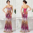 Paillettes Longue Robe de bal de mariée Cérémonie Tenue de soirée Taille 32-46