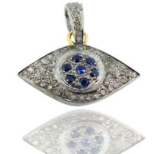 Sapphire Evil Eye Pendant 14K Gold Diamond Sterling Silver Gemstone Jewelry OY